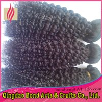 Cheap Free Shipping Kinky Curly Malaysian Virgin Hair 3 4pcs lot Afro Kinky Curly Human Hair Weave 10~32inch natural color can be dyed