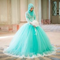 Wholesale Arabic Dress Ball Gown Quinceanera Dresses Long Sleeves Mint Green Muslim Prom Party Dresses Unique Wedding Bridal Gowns EA0467