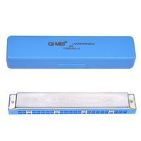 Wholesale Key of C Holes Diatonic Harmonica Silvering for Student Music Instrument with Case w Blue