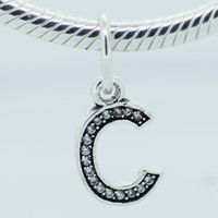 Wholesale Fits Pandora Bracelet Authentic Sterling Silver Beads Luck Letter C Clear CZ Brand Charm DIY Jewelry