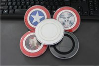 Wholesale Galaxy S6 Qi Wireless Charger Pad Transmitter Fast Charging Plate For Samsung S6 Mobile Phone Avengers Captain America Style With Retail box