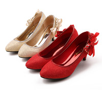 Cheap In Stock 2015 New Arrival Sequined Wedding Shoes for Women High Heels Prom Shoes With Bows