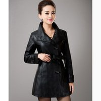 Wholesale 2015 New Spring Women Leather Jacket Long Black Red Blue Plus Size Leather Trench Slim Outerwear Women Medium long Leather Coat