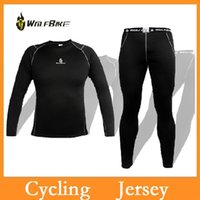 Wholesale High quality WOLFBIKE Cycling Jersey Shirt Bike Bicycle Baselayer Underwear Suit Long Sleeve Jersey Winter Sports Clothes Sets Via DHL