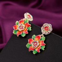 big earrings collection - Red Green Big Flower Colorful Diamante Earring CHINA STYLE Chic Design Chandelier Accessories Collection Earrings GIFTs a