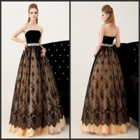 sexy ball gowns - 2015 Black Lace Ball Gowns Strapless Beaded Waist Floor Length A Line Cheap Evening Dresses Vintage Vestidos De Festa Sexy Prom Dresses