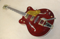 Wholesale The Factory Customized Navy Claret red Electric Guitar with Golden Pickguard and a Good Tremolo System