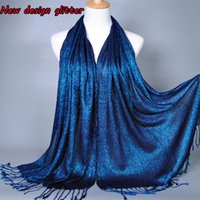 Wholesale Plain Shimmer fashion printe solid color glitter viscose lurex long shawls muslim hijab winter wrap scarves scarf