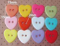 Wholesale Mixed heart Holes Resin Sewing Buttons mm zk0010