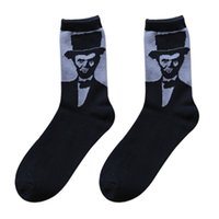 basketball portraits - 2015 New arrival cotton Vintage Men s tube Brand Socks Personality Lincoln portrait socks Print Elite Basketball Sock color