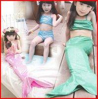 Wholesale Swimsuit Top Cute - 2015 Girls Kids Swimwear Baby Girls Sequins Mermaid three pieces sets swimsuit tank top+skirt+short Cute Children Sleepwear Swiming Clothes