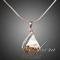 cubic zirconia stone - AZORA K Rose Gold Plated Cubic Zirconia Stone Triangle Pendant Necklace TN0063