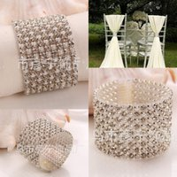Cheap Diamante Ribbon Tie Napkin Rings Diamond Rhinestone Napkin Rings Silver Napkin Ring Wedding Supplies Party Table Decoration