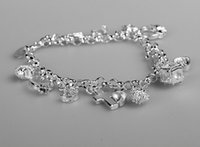 Wholesale New Arrival cheap hot Sterling Silver CZ Crystal gemstone fashion jewelry cross moon charms silver women bracelet