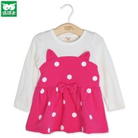 cotton dress materials - Little Girls Dresses Cotton Material and Long Sleeve Cute Ear Dot Girls Spring Dresses with Bow Dresses Hot Sale C101