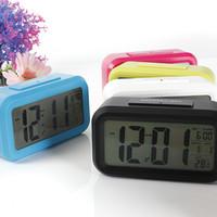 Wholesale Digital LCD Screen Mini Desktop LED Projector Alarm Clock Multi function With Snooze Blue Backlight Calendar