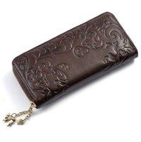 best free zip - New fashion the best genuine leather zip around flower pattern lady women wallet purse handbag long colors