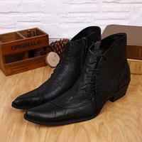 Cheap Plus Size 2015 New Genuine Leather Formal Brand Man Ankle Boots Pointed Toe Lace up Motorcycle Punk Rock Men's Shoes FPT365