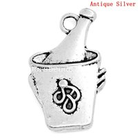antique ice bucket - Charm Pendants Champagne or Wine In An Ice Bucket Antique Silver Pattern Carved x15mm B24081
