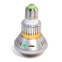Wholesale P2P IP Camera Hidden Bulb Camera W White LED Light WIFI Security Camera MINI DV DVR Camera Surveillance Camera BC W DHL
