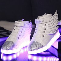 baby light shine - 2016 Children s LED Lighted Shoes kids Hip hop Fashion Sneakers Boots baby luminous wings shoes shine flash shoes Sports shoes sneakers
