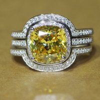 Women's absolute band - 013 Absolute Delicate Quality NSCD Yellow Cushion Cut Bridal Set Wedding Enagement Rings Set For Women