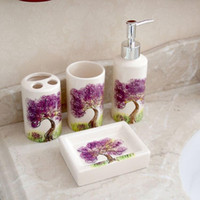 Wholesale Gift Package fashion summer Sanitary four Ceramic bathroom products accessories suite Ware sets Hotel Supplies