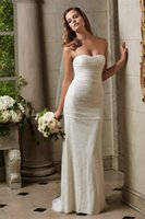 Wholesale 2015 Wedding Dress SS Puddle train Figure hugging slim silhouette Chantilly lace with ruching along the bodice flattering fit Custom Made