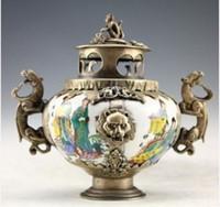 Wholesale Chinese old Tibet silver porcelain kirin censer monkeys