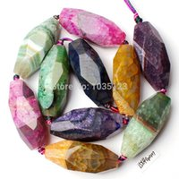 Wholesale Ag AAA x40mm Cracked Multicolor Agate Faceted Oval Shape Loose Beads Strand quot Jewellery Making w1423