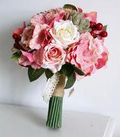 Wholesale Retro pink roses hydrangeas Succulents high simulation wedding bouquets