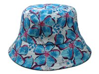 Cheap 2014 new blue big flower bucket hats and caps for women girls men fashion mens womens beach fishing hat floral cotton wholesale