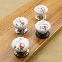 Wholesale Vintage Tulip White ceramic door knobs cabinet pulls kitchen drawer handles with Silver Black Golden Bronze Base