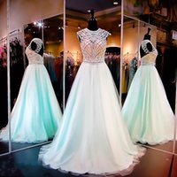 Cheap 2016 Prom Dresses Backless Beaded Bodice Jewel A Line Aqua Bridesmaid Dresses Real Pictures Wedding Senior Evening Gowns with Pearls