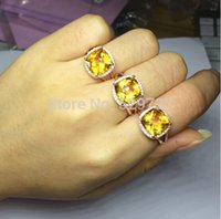 Cheap Women Fashion natural citrine cushion cut 925 sterling silver jewelry adjustable ring