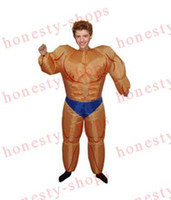 Wholesale Hot Sale Air Blown UP Halloween Men s Costumes Inflatable Fat Muscle Men Suits One Size For All Mardi Gras Costumes