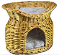 Wholesale Willow pet basket willow pet bed handmade from china hot sale lovely Eco friendly and portable handmade willow pet basket