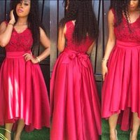 art matters - Arican High Low Prom Dress Fashion Red Lace Matter Satin V Neck Dubai Evening Dress Party Gowns Custom made