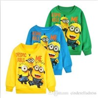 Wholesale 2016 New Arrival baby clothes boys girl Cartoon design round minion collar fleece children wear t shirts Children s clothing Christmas Gift
