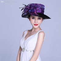 Wholesale Fashion Women Lady s Organza Sinamay kentucky Hats Wide Brim Hats Sun hat church hats for women wedding Derby hats with feather