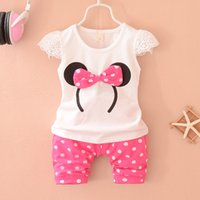 Wholesale Retail set Baby Girls Summer Suits Minnie Mouse Summer Two Pieces T shirt And Pants set For Y Babies