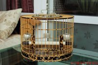 bamboo pallet - Bird cage full bamboo pallet dm red and blue water bird cage round cage