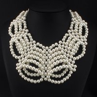 Luxe Bib Fashion Femme Accessoires Solid crafting Layering Design Perle Perles Colliers Chokers collier déclaration # 3322