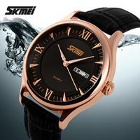 Wholesale Skmei Noble Men s Watch Genuine Leather Strap Black And Brown