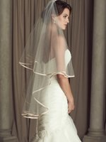 Wholesale Wedding Veils Paloma Spring Ribbon Edge Finger Length Two Layers New Arrives Bridal Veil Tulle Cheap Bridal Accessories