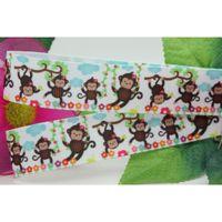 animal play yard - 7 quot mm Happy Animals Cartoon Monkeys Playing Printed Grosgrain Ribbon for Bows DIY Craft Decos Sewing yards