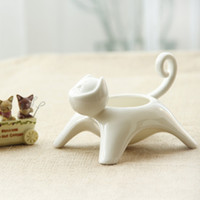 ash pot - Cute Multifunctional Cat Face Candlestick Ash Tray Porcelain Artware Mini Pot Plant Holder Home Table Decoration Lovely Ornament
