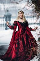 al por mayor bola victoriano vestidos de boda del vestido-Gótico Bella Durmiente Princesa Medieval Rojo y Negro Vestido de Boda Vestido de Manga Larga Appliques Lace Vestidos de Novia Victoriana