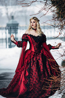 beauty castle - Gothic Sleeping Beauty Princess Medieval Red and Black Ball Gown Wedding Dress Long Sleeve Lace Appliques Victorian Bridal Gowns