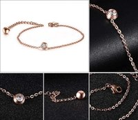 Wholesale PrettyBaby JC Jewelry Women Rose gold Pendants Stainless steel diamond anklets bracelet Charms Chain party Gift